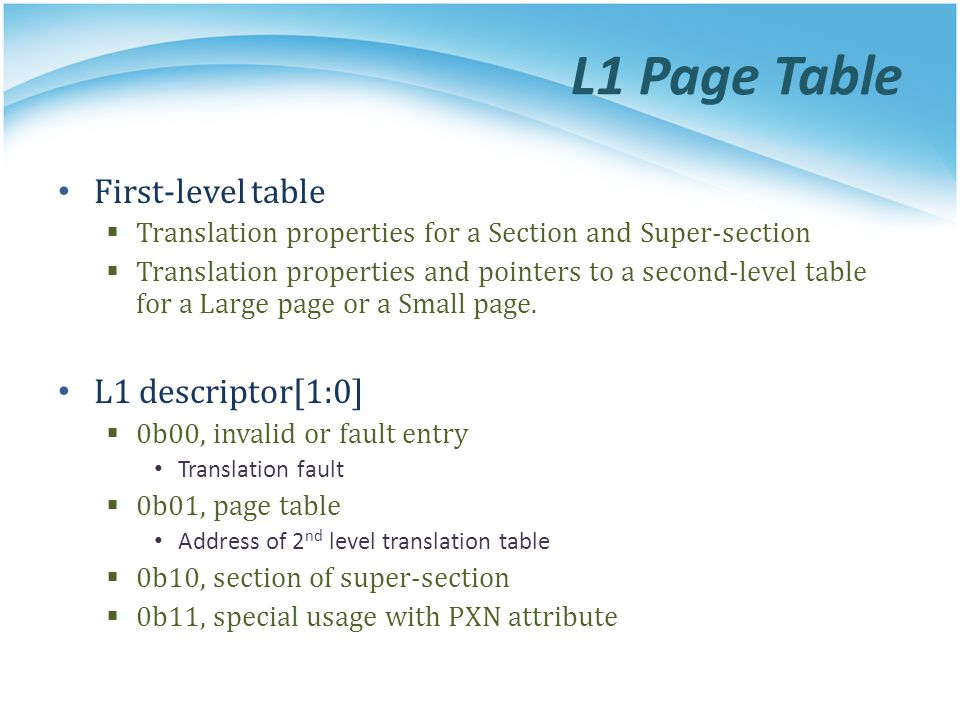 L1 Page Table First-level table L1 descriptor[1:0]